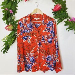 LOFT Ann Taylor orange floral button-down size XL